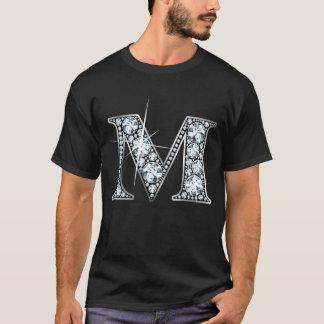 """""""M""""のダイヤモンドのきらきら光るなTシャツ Tシャツ"""