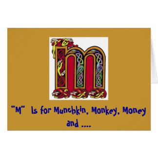 """""""M""""はMunchkin、猿、お金および母のためです カード"""