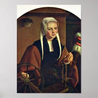 Maarten van Heemskerck -女性のポートレート ポスター
