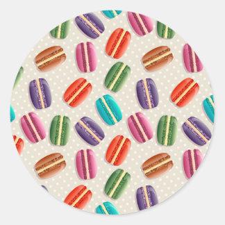 Macaronの甘いクッキーおよび水玉模様パターン ラウンドシール