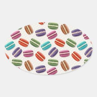 Macaronの甘いクッキーおよび水玉模様パターン 楕円形シール