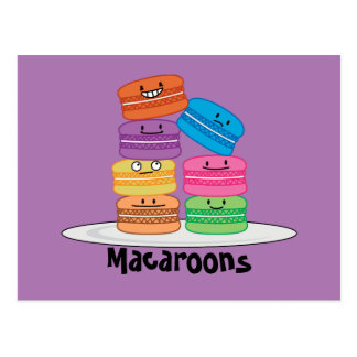 MacaroonのMacaroonsのクッキーのフランスので甘いデザート ポストカード