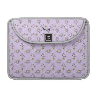 Macbookのかわいらしい紫色の花のプロ袖 MacBook Proスリーブ