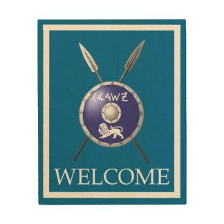Maccabeeの盾およびやり-歓迎 ウッドウォールアート