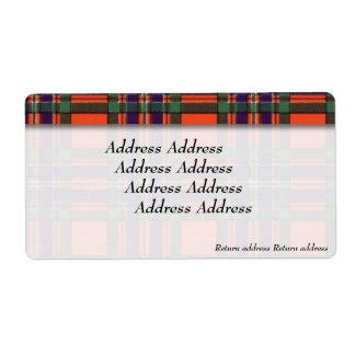 Macfarlaneの一族の格子縞のスコットランド人のタータンチェック ラベル