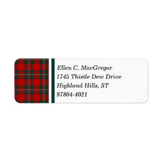 MacGregorの一族の赤および深緑色のタータンチェック ラベル