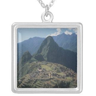 Machu Picchuの砦の眺め シルバープレートネックレス