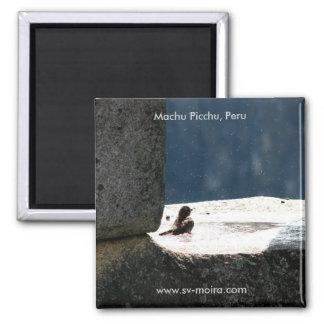 Machu Picchu、ペルーの石造りの窓のbirdbath マグネット