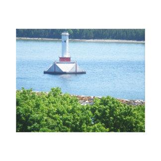 Mackinacの島の灯台によって伸ばされるキャンバスのプリント キャンバスプリント