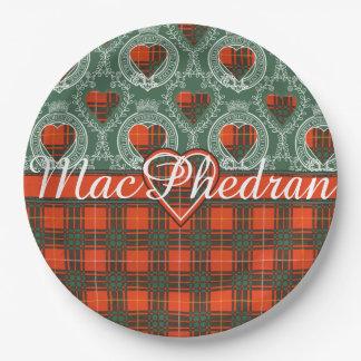 MacPhedranの一族の格子縞のスコットランドのキルトのタータンチェック ペーパープレート