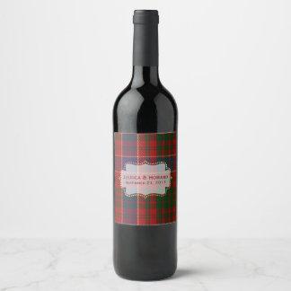 MacRaeのタータンチェック格子縞の結婚式のワインのラベル ワインラベル