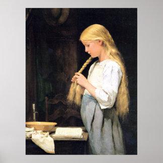 Mädchenは女の子彼女の毛を編んでいるHaareのflechtendの死にます ポスター