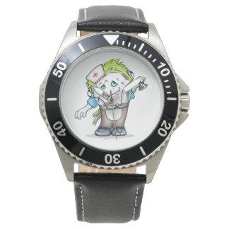 MADDIの腕時計モンスターのステンレス鋼の黒の革 腕時計