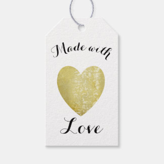 Made with Love Heart Stamp Faux Gold Foil ギフトタグ