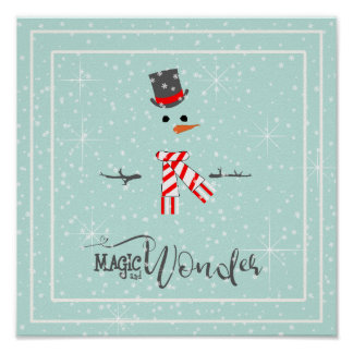 Magic and Wonder Christmas Snowman Mint ID440 ポスター