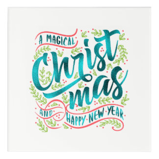 Magical Christmas Typography Teal ID441 アクリルウォールアート