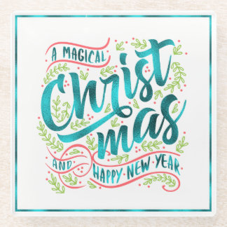 Magical Christmas Typography Teal ID441 ガラスコースター