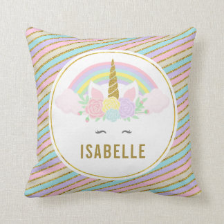 Magical Rainbow and Unicorn Throw Pillow クッション