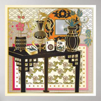 Mah Jonggのテーブル ポスター