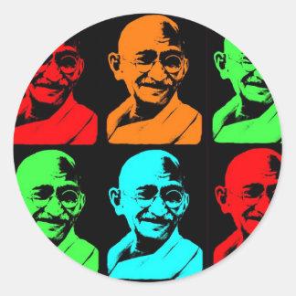 Mahatma Gandhiのコラージュ ラウンドシール