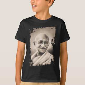 Mahatma Gandhiの黒いTシャツ Tシャツ
