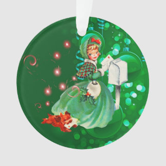 Mailing Letter Greenヴィンテージのクリスマスの女性 オーナメント