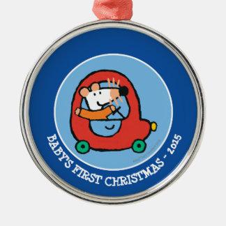 Maisyはかわいく赤い車を運転します メタルオーナメント