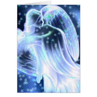 Majestic Blue Angel With Stars Greeting Card カード