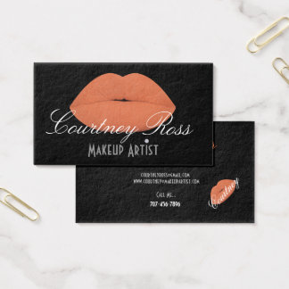 Makeup Artist/Peach Lips - Thick Business Cards 名刺