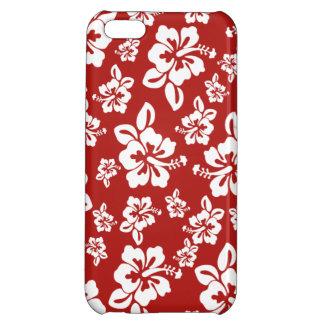 Maliaのハイビスカス-ハワイアンのPareauの赤いプリント iPhone5Cケース