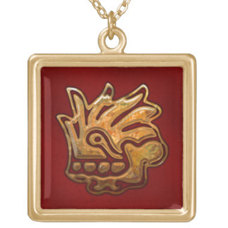 Malinalliのアステカな赤及び金ゴールド ゴールドプレートネックレス