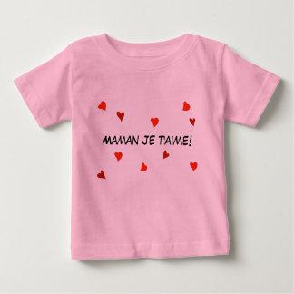 Maman Je T'Aimeのフランスのなベビーのハートの母の日 ベビーTシャツ