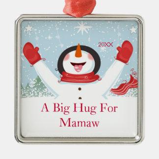 Mamawのクリスマスの雪だるまのオーナメントのための抱擁 メタルオーナメント