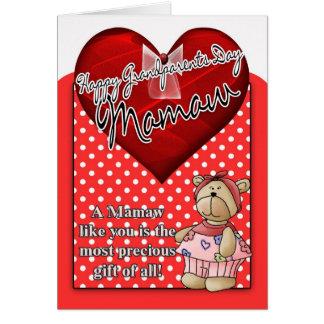 Mamawの祖父母日カード-赤と白のポルカ カード