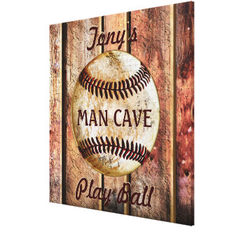 Man Cave Personalized Baseball Wall Art Your Text キャンバスプリント
