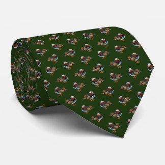 Manadrinの逆上のタイの倍はプリントは味方しました(深緑色) カスタムネクタイ
