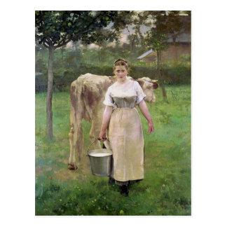 Manda Lametrieの農場の女中1887年 ポストカード
