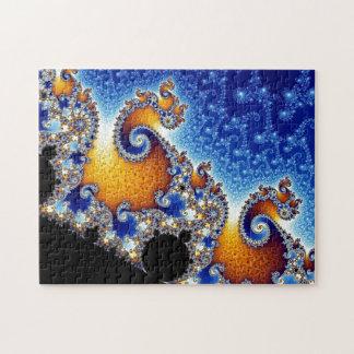Mandelbrotの青い二重螺線形のフラクタル ジグソーパズル