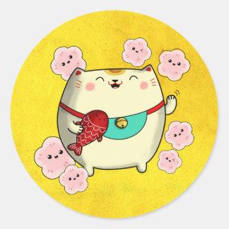 Manekiかわいい円形のNeko猫 ラウンドシール