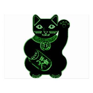 manekiのnekoの緑のネオン ポストカード