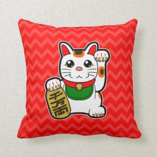 Maneki Neko: 日本ので幸運な猫のリバーシブル クッション