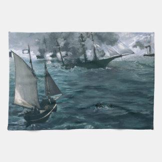 Manet著USS KearsargeおよびCSSアラバマの戦い キッチンタオル