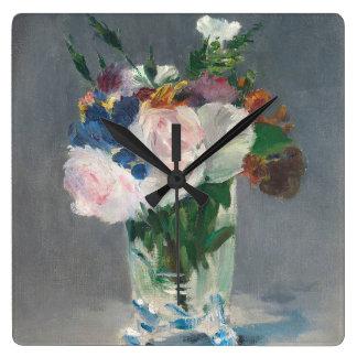 Manet |は水晶つぼ、c.1882で開花します スクエア壁時計
