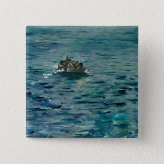 Manet  アンリーde Rochefortの脱出 5.1cm 正方形バッジ