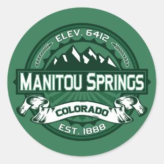 "Manitouはロゴ""コロラド州緑""のはねます ラウンドシール"