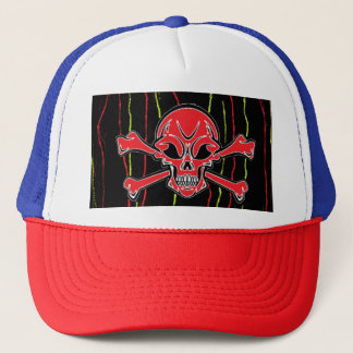 Mannymansterの赤いスカルのトラック運転手の帽子 キャップ