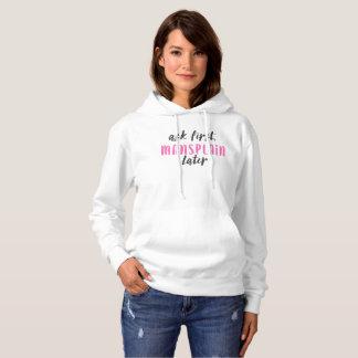 Mansplainのより遅いフード付きスウェットシャツ(白くか黒いまたはhotpink) パーカ