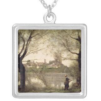 Mantesの町そしてカテドラルの眺め シルバープレートネックレス