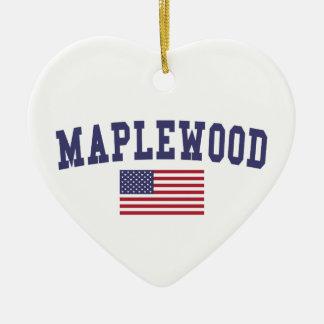 Maplewood米国の旗 セラミックオーナメント