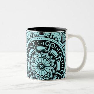 Marble circle mug bohemian mandala design ツートーンマグカップ